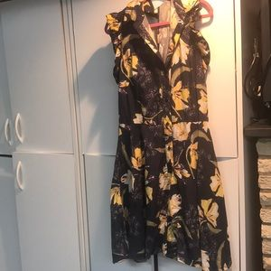Zara navy and yellow floral romper dress